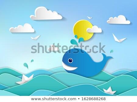 Gyerekek csónak bálna vízalatti illusztráció család Stock fotó © bluering
