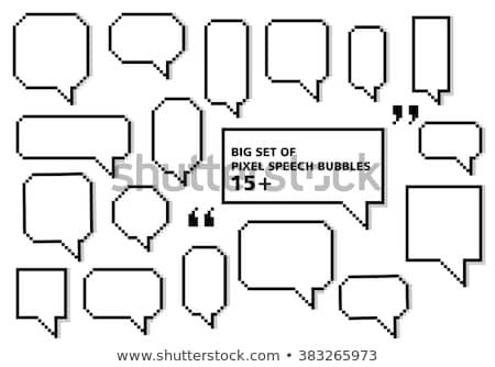 Пиксели текста пузыря речи пузырь икона группа Сток-фото © Said