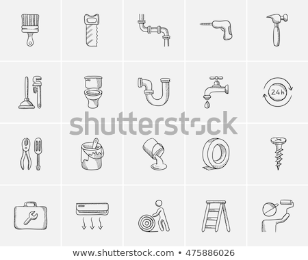 Pipe wrenches and plunger sketch icon. Stock photo © RAStudio