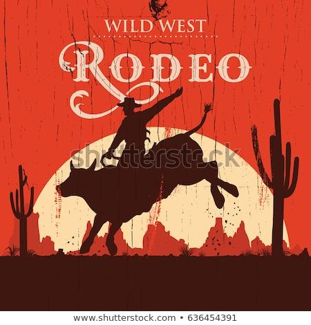 Rodeo cowboy riding animal silhouettes  Stock photo © comicvector703