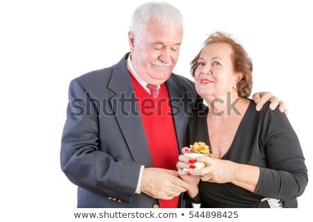 Büszke idős nő tart valentin nap ajándék Stock fotó © ozgur