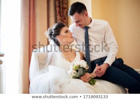 Yeni evliler çift yeni evli düğün motosiklet sevmek Stok fotoğraf © fotoedu