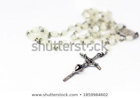 Pearl ожерелье распятие белый изолированный крест Сток-фото © luissantos84