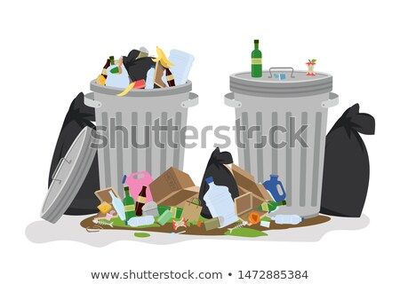 Trashcan and pile of dirty trash on the floor Stock photo © bluering