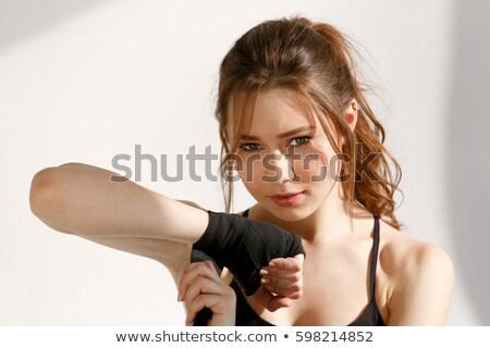 mulher · da · aptidão · boxe · menina · fitness · ginásio - foto stock © deandrobot
