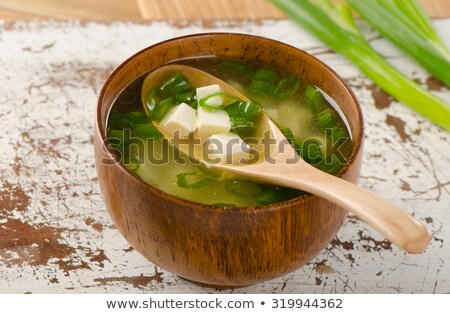 Miso Soup Cup and Wooden Spoon Stock photo © monkey_business