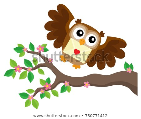 Owl Bird Flying with Letter of Love with Heart Isolated Stock photo © robuart