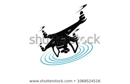 kadın · uçan · uzaktan · kumanda · mavi · gökyüzü · vektör · dizayn - stok fotoğraf © rastudio
