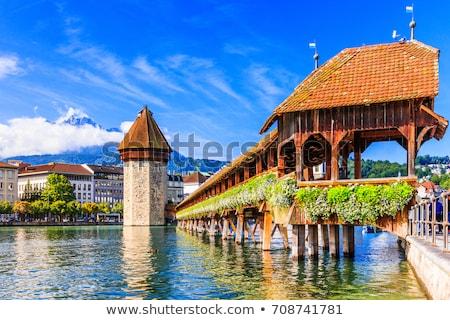 Panorámica vista capilla puente cielo madera Foto stock © Xantana