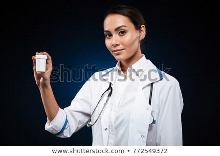 白 · 錠剤 · 青 · オレンジ · ボトル · 聴診器 - ストックフォト © deandrobot