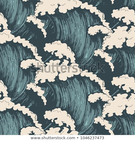 Sea ocean waves seamless pattern, vector illustration Stock photo © carodi