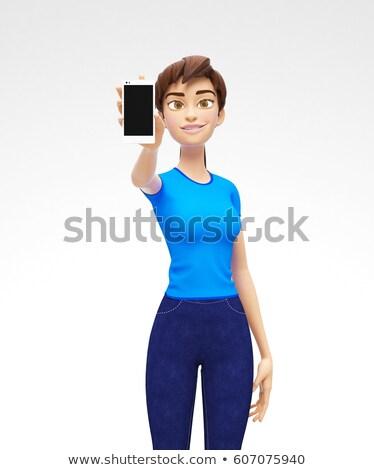 Cep telefonu ekran gülen mutlu 3D Stok fotoğraf © Loud-Mango