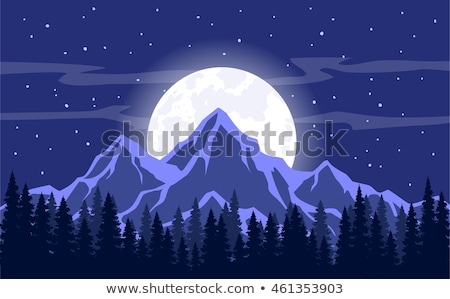 Nature mountains landscape. Moonlight. Rocky mountains and pine forest. Evening. Stock photo © Leo_Edition