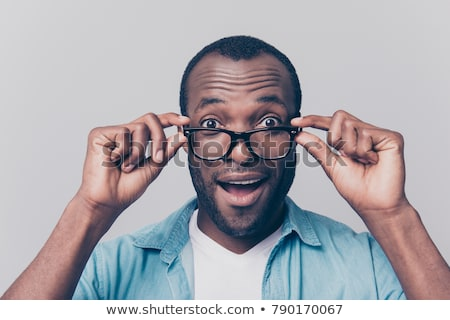 wow intelligent African businessman with glasses Stock photo © studiostoks
