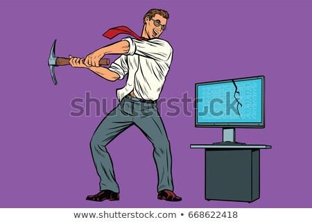 fenyegetés · vírus · számítógép · részletes · iroda · internet - stock fotó © studiostoks