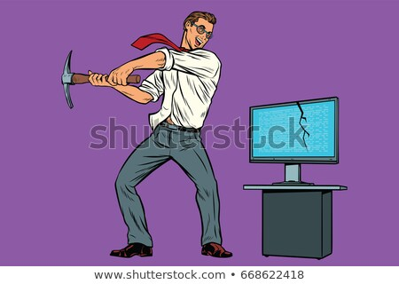 Businessman breaks the computer, cryptographer virus ransomware  Stock photo © studiostoks