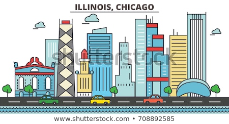 Cartoon Chicago Skyline USA Photo stock © blamb