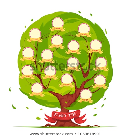 Genealogical Tree Vector. Family History Tree Blank With Avatar People. Stock photo © pikepicture