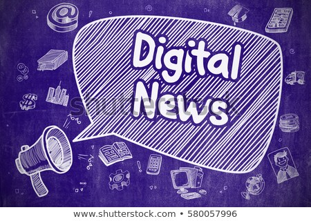 Negócio notícia desenho animado ilustração azul quadro-negro Foto stock © tashatuvango