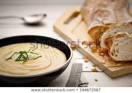 mugs of hot potato soup with bread stock photo © stephaniefrey
