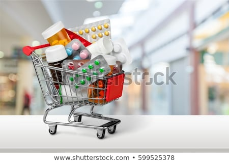 pílulas · carrinho · de · compras · colorido · branco · médico · fundo - foto stock © fisher