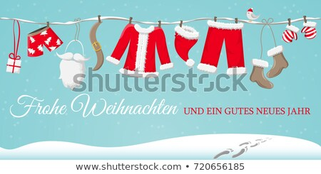 Santa Claus clothesline, vector Christmas card Stock photo © beaubelle