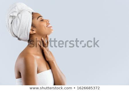 Mooie jonge vrouw badjas handdoek hoofd Stockfoto © deandrobot