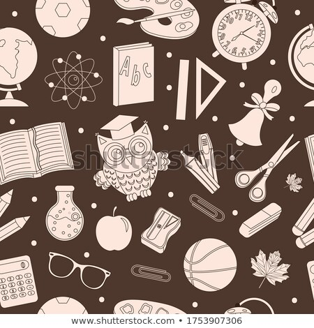 back to school seamless pattern hand drawing doodle style stationery endless background educatio stock photo © lucia_fox