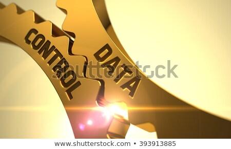 data protection concept golden metallic gears stock photo © tashatuvango