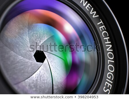Stock photo: Lens of Reflex Camera with Inscription New Solution.