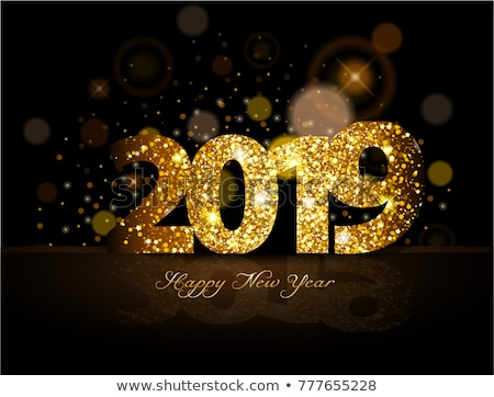 Vector Happy New Year 2018 Illustration on Shiny Lighting Blue Background with Typography. Stock photo © articular