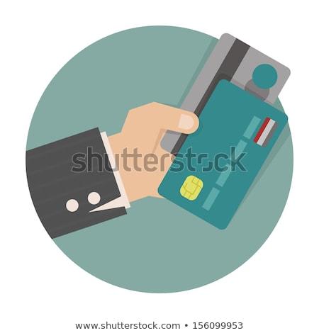 Hitelkártya kör ikon stílus hosszú árnyék Stock fotó © Anna_leni