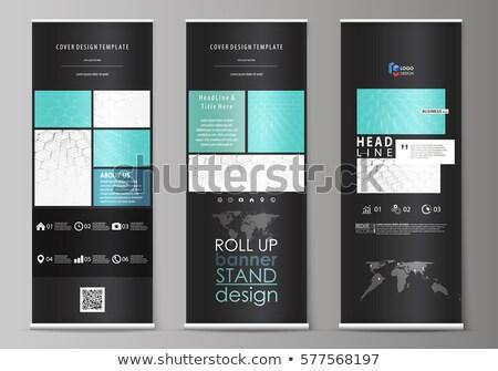 Toczyć w górę banner stoją sześciokąt wzór Zdjęcia stock © designleo