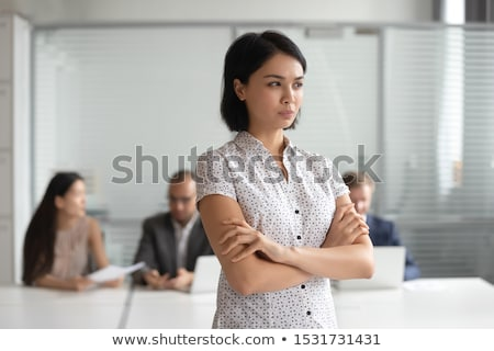 Endişeli iş kız üzgün bankacı sinir Stok fotoğraf © NikoDzhi
