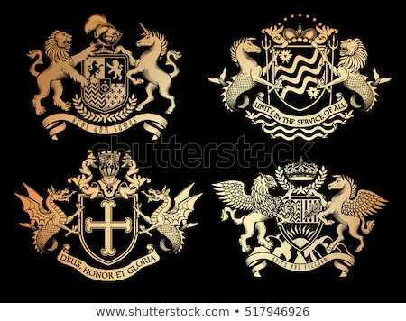 dragon crest coat of arms heraldic emblem shield stock photo © krisdog