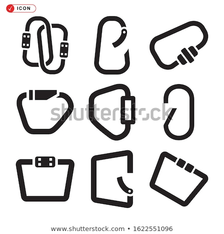 Climbing carabiner icon. Silhouette style symbol. Black pictogram of climbing equipment - carabiner. Stock photo © JeksonGraphics