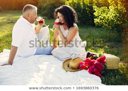 Older couple embracing on picnic blanket Stock photo © IS2