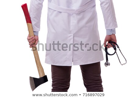 Funny doctor with axe isolated on white Stock photo © Elnur