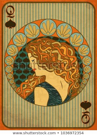 Queen poker spades card in art nouveau style, vector illustration Stock photo © carodi