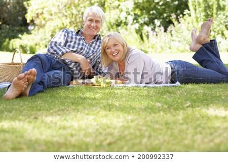 Mid adult couple lying on blanket outdoors, portrait Stock photo © IS2
