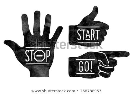Stock photo: Navigation signs. Black hands silhouettes - pointing finger, stop hand and thumb up