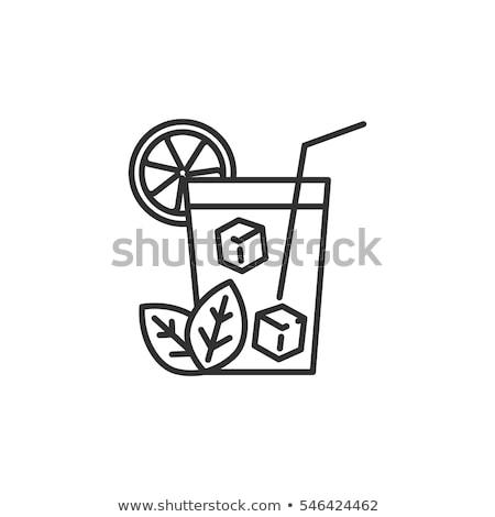 Vidrio agua vector línea icono Foto stock © RAStudio