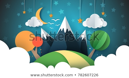 paper travel illustration sun cloud hill mountain bird stock photo © rwgusev