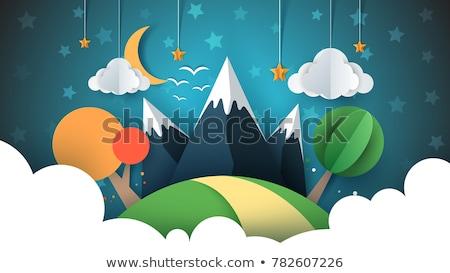 Stockfoto: Papier · reizen · illustratie · zon · wolk · heuvel