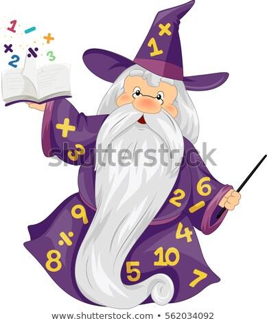Matemáticas varita mágica números educación ilustración dorado Foto stock © lenm