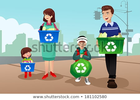 Father holding recycling bag Stock photo © IS2