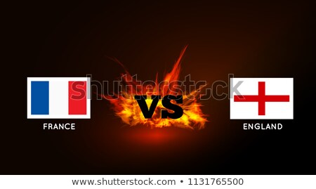 Flags of France and England against the VS symbol and fire. Vector Stock photo © m_pavlov