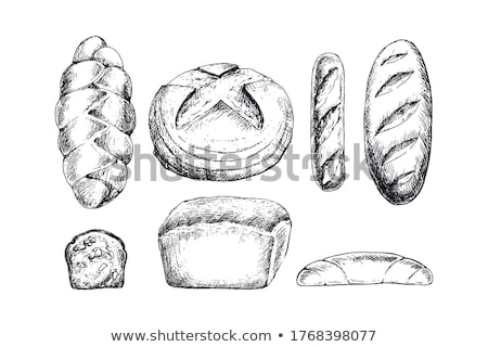 Foto d'archivio: Black And White Cartoon Bread Loaf