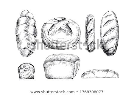黒白 漫画 パン ローフ 孤立した 白 ストックフォト © hittoon