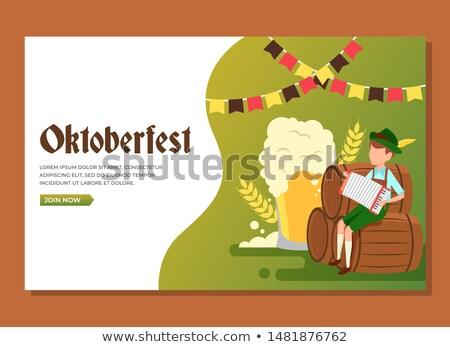 Sör fesztivál Oktoberfest férfi fából készült hordó Stock fotó © orensila